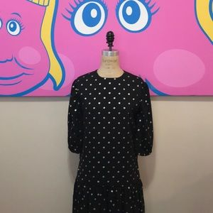 Vintage 1980s Drop Waist Polka Dot Gold Dress